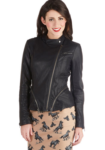 Supersonic Quality Jacket - Black, Solid, Exposed zipper, Long Sleeve, Good, Short, Faux Leather, 2, Black