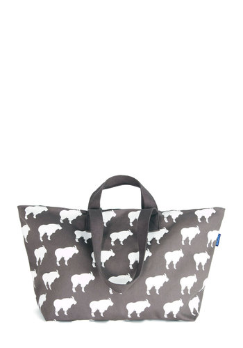 Anywhere You Goat Weekend Bag by Baggu - Grey, White, Print with Animals, Travel, Better, Cotton