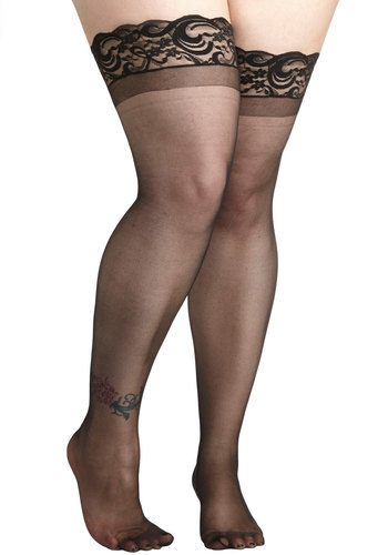 Everything Elegant Thigh Highs in Plus Size - Sheer, Black, Solid, Lace, Wedding, Girls Night Out, Film Noir, Pinup, Vintage Inspired, Boudoir, Lace
