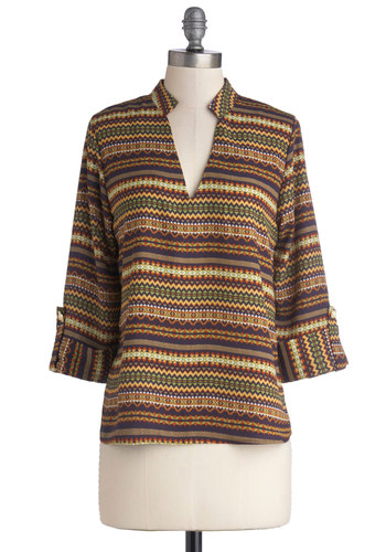 That Thing You Fondue Top - Mid-length, Woven, Brown, Print, Casual, Boho, Vintage Inspired, 70s, 3/4 Sleeve, Good, V Neck, Brown, Tab Sleeve