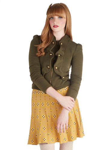 Forward March Jacket in Olive - Knit, 2, Military, Green, Solid, Buttons, Exposed zipper, Ruffles, Long Sleeve, Green, Short, Gifts Sale