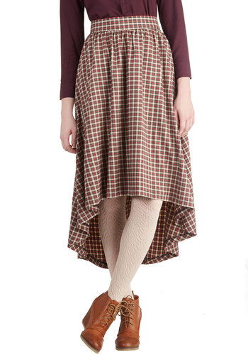 Found Poetry Skirt - Cotton, Woven, Long, Plaid, Better, Pockets, Casual, Steampunk, Scholastic/Collegiate, Multi, Midi, Multi
