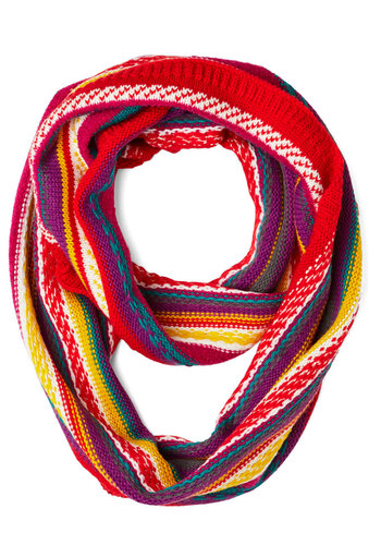 Inn Touch Circle Scarf - Red, Multi, Stripes, Trim, Best, Knit, Fall, Winter