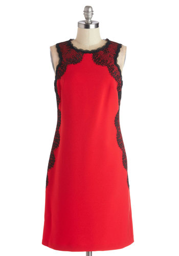 Scarlet Enchantress Dress - Red, Black, Lace, Scallops, Party, Sheath / Shift, Sleeveless, Crew, Mid-length, Woven, Better, Cocktail, Valentine's
