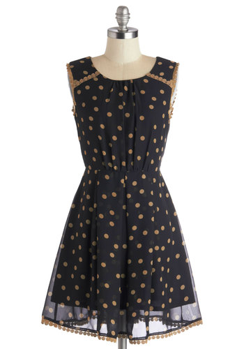 Tea Taster Dress - Black, Polka Dots, Trim, Casual, A-line, Sleeveless, Better, Scoop, Mid-length, Chiffon, Woven, Tan / Cream, Exposed zipper