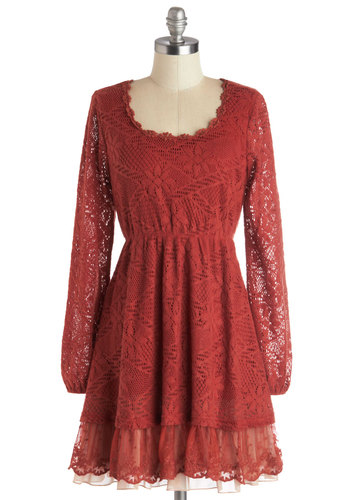 Work from the Cafe Dress by Ryu - Red, Solid, Lace, Ruffles, Trim, Casual, Boho, A-line, Long Sleeve, Better, Scoop, Mid-length, Woven, Sheer, Fall
