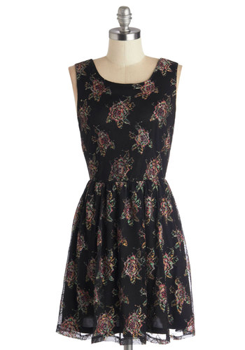 For the Whim Dress - Black, Floral, Casual, A-line, Tank top (2 thick straps), Good, Scoop, Multi, Short, Knit