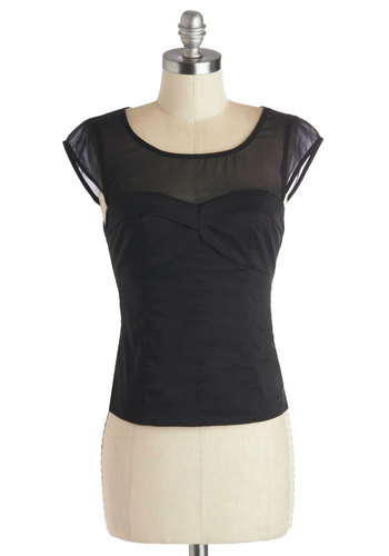 Mist Connection Top - Black, Solid, Party, Pinup, Better, Short, Woven, Sheer, Cap Sleeves, Black, Sleeveless, Holiday Party