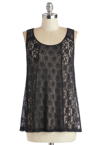 Fanciness in Your Future Top - Black, Lace, Sleeveless, Better, Mid-length, Knit, Scoop, Black, Sleeveless, Holiday Party, Lace