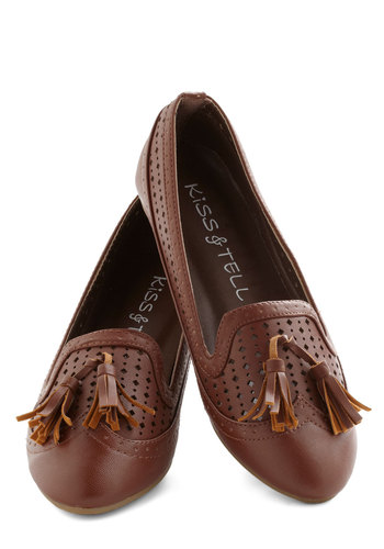 Office Casual Flat - Brown, Solid, Cutout, Tassles, Menswear Inspired, Flat, Good, Faux Leather, Casual