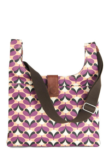 Orla Kiely Blossom Day Bag by Orla Kiely - Purple, Brown, White, Print, Vintage Inspired, 60s, Mod, International Designer, Leather, Cotton, Tan / Cream, Travel