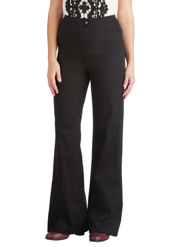 Working Lunch Pants by Myrtlewood - Private Label, Woven, Black, Solid, Work, Vintage Inspired, Flare / Bell Bottom, High Waist, Cotton, Exclusives