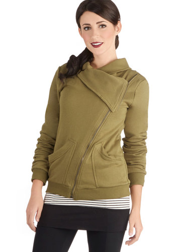 Brunch on the Patio Jacket in Green - Cotton, Knit, Mid-length, 1, Green, Solid, Pockets, Casual, Long Sleeve, Good, Variation, Exposed zipper, Fall, Green