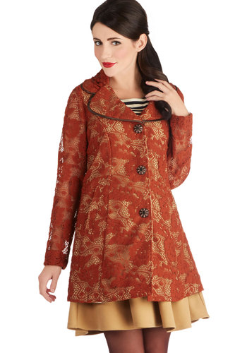 Fall I Really Want Coat by Ryu - Cotton, Sheer, Knit, Woven, Orange, Buttons, Lace, Pockets, Long Sleeve, Fall, 2, Orange, Long