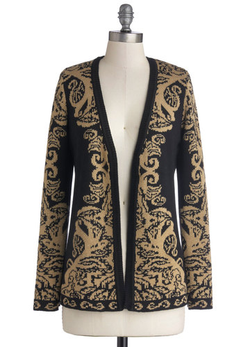 By All Gleams Cardigan - Knit, Mid-length, Gold, Black, Print, Long Sleeve, Better, Luxe, Black, Long Sleeve, Holiday, Holiday Party