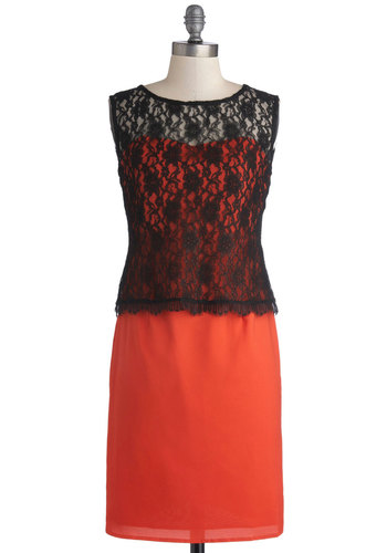 Dreaming of Tangerine Dress - Solid, Cutout, Lace, Party, Sleeveless, Better, Scoop, Mid-length, Woven, Sheer, Orange, Black, Knit, Lace, Cocktail, Sheath