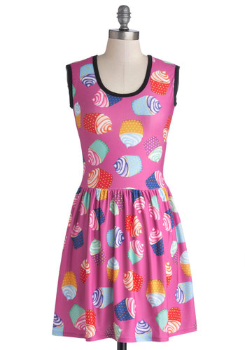 My Kinda Gallop Dress in Cupcakes - Knit, Pink, Multi, Novelty Print, Casual, A-line, Sleeveless, Scoop, Mid-length