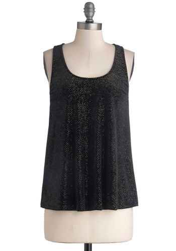 Have This Dance Top - Knit, Mid-length, Party, Black, Girls Night Out, Holiday Party, Tank top (2 thick straps), Better, Solid, Glitter, Scoop, Black, Sleeveless