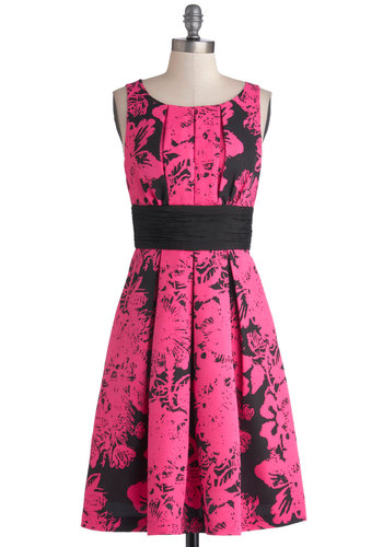 Plenty by Tracy Reese Art and Soul Dress by Plenty by Tracy Reese - Mid-length, Woven, Pink, Black, Floral, Pleats, Ruching, Party, A-line, Sleeveless, Better, Scoop