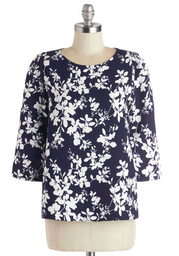 Elegance in the Workplace Top - Mid-length, Woven, Blue, White, Floral, Work, Long Sleeve, Better, Blue, 3/4 Sleeve