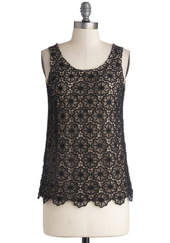 Sprout Journal Top - Black, Tan / Cream, Lace, Sleeveless, Better, Mid-length, Cotton, Knit, Scoop, Black, Sleeveless, Holiday Party, Lace