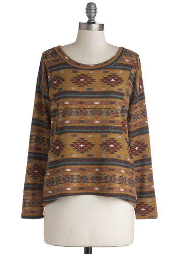 Literature Lounge Sweater - Tan, Pockets, Long Sleeve, Good, Knit, Mid-length, Multi, Print, Casual, Rustic, Scoop, Brown, Long Sleeve