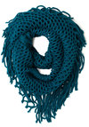 Show and Trellis Scarf in Teal - Knit, Blue, Solid, Fringed, Casual, Fall, Variation, Sheer, Winter
