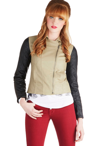 Convertible Excursion Jacket by Jack by BB Dakota - Faux Leather, 2, Tan, Solid, Long Sleeve, Good, Pockets, Multi, Short, Gifts Sale