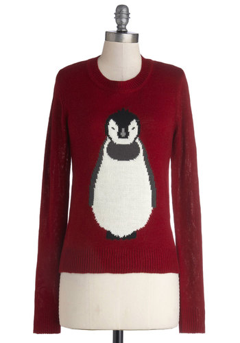 Frosty Friends Sweater by Louche - Knit, Mid-length, Red, White, Print with Animals, Casual, Holiday, Long Sleeve, Better, International Designer, Black, Crew, Red, Long Sleeve