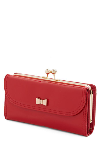 Coin a Phase Wallet - Red, Gold, Solid, Bows, Travel, Faux Leather