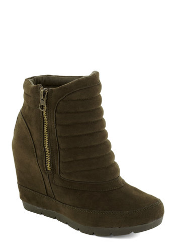 Brussels Scout Bootie - Mid, Green, Solid, Exposed zipper, Better, Wedge, Urban, Faux Leather, Platform
