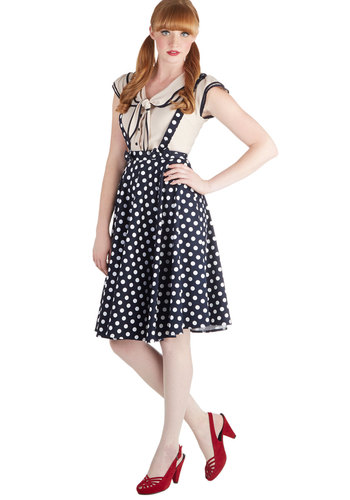 Resounding Thrill Skirt - Blue, Polka Dots, Darling, Better, Cotton, Woven, Long, Suspender, Blue