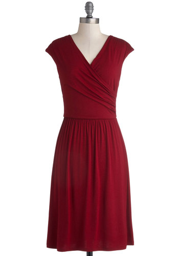 Cheers to You Dress in Wine - Solid, Casual, Minimal, A-line, Cap Sleeves, Good, V Neck, Long, Jersey, Knit, Red, Ruching, Work
