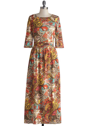Dinner and a Groovy Dress - Long, Chiffon, Woven, Brown, Multi, Paisley, Ruching, Casual, Maxi, 3/4 Sleeve, Better, Scoop, Vintage Inspired, 70s