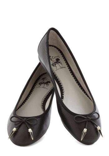 Poke Around Flat in Black - Flat, Leather, Black, Solid, Studs, Better, Bows