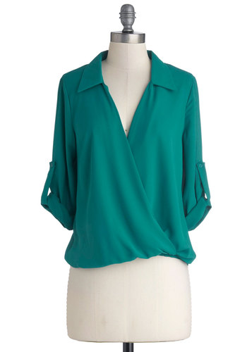 Talk of the Georgetown Top - Solid, Work, 3/4 Sleeve, Good, Mid-length, Chiffon, Woven, Green, V Neck, Collared, Green, Tab Sleeve