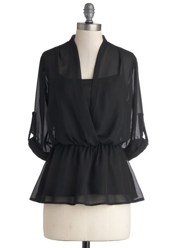 Tapas of the Charts Top - Black, Solid, Work, 3/4 Sleeve, Sheer, Good, Mid-length, Chiffon, Woven, Peplum, Black, Tab Sleeve