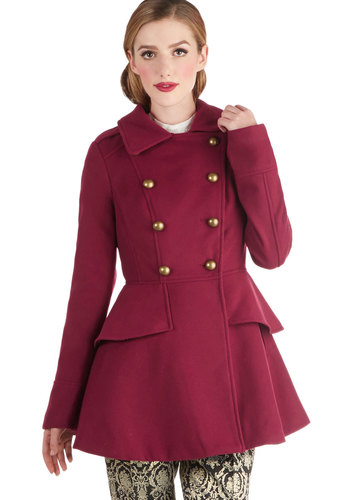 Tiering Up My Heart Coat - Red, Solid, Buttons, Ruffles, Double Breasted, Long Sleeve, Long, Epaulets, Tiered, Winter, 3, Holiday Party, Red