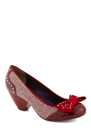 Dissertation Celebration Heel by Poetic License - Red, White, Gold, Solid, Herringbone, Bows, Studs, Mid, Work, Vintage Inspired, Faux Leather
