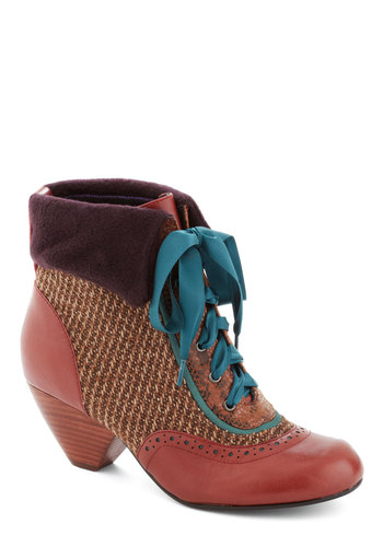 Collector's Tradition Boot by Poetic License - Brown, Multi, Solid, Mid, Leather, French / Victorian, Lace Up