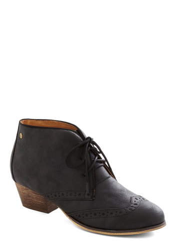 Kensington Markedness Bootie in Black by Chelsea Crew - Low, Faux Leather, Black, Solid, Menswear Inspired, Lace Up