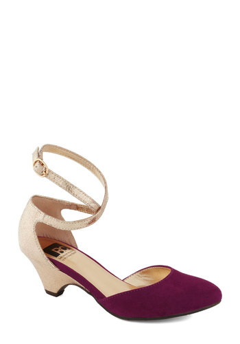 Step on It Heel in Plum by BC Shoes - Purple, Gold, Party, Cocktail, Holiday Party, Colorblocking, Low, Better, Faux Leather, Variation