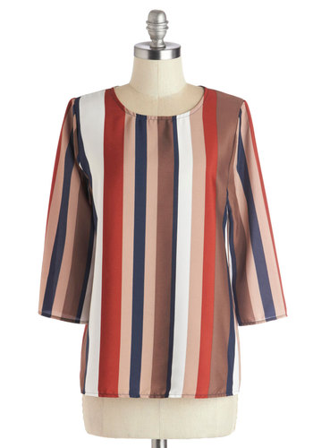 Off the Record Top - Mid-length, Chiffon, Woven, Multi, Orange, Blue, Tan / Cream, Stripes, Work, 3/4 Sleeve, Good, White, Brown, 3/4 Sleeve