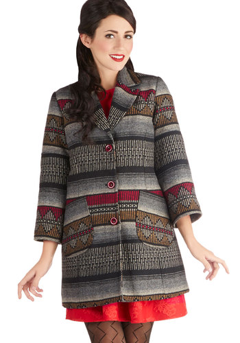 Halifax of Life Coat - Long, Woven, 3, Grey, Buttons, Better, Print, Pockets, 3/4 Sleeve, Fall, Multi