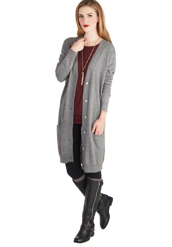 At Long Last Cardigan in Grey - Grey, Solid, Pockets, Long Sleeve, Better, Knit, Buttons, Grey, Long Sleeve