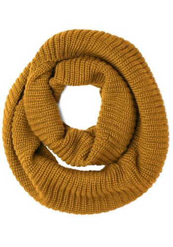 Dressed to Chill Circle Scarf in Mustard - Knit, Yellow, Solid, Fall, Winter, Good, Variation, Basic, Knitted