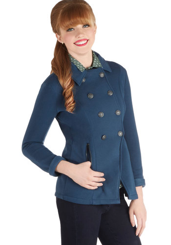 Nantucket List Jacket - Knit, 2, Blue, Solid, Buttons, Pockets, Long Sleeve, Good, Double Breasted, Fall, Blue, Winter, Mid-length