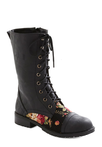 Blooming Saddles Boot in Black - Low, Faux Leather, Black, Multi, Solid, Floral, Lace Up, Casual, Vintage Inspired, 90s, Variation