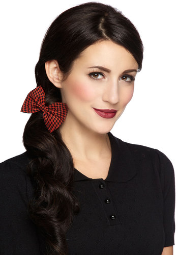 Darlin' Detail Hair Clip in Brick Houndstooth - Red, Black, Houndstooth, Good, Variation, Bows, Scholastic/Collegiate