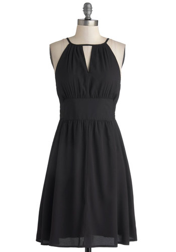 The Ictus Girl Dress - Mid-length, Chiffon, Woven, Black, Solid, Cutout, Party, A-line, Sleeveless, Better